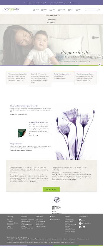Progenity, Inc. Website Screenshot