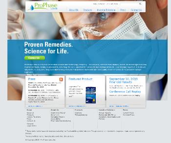 ProPhase Labs, Inc. Website Screenshot
