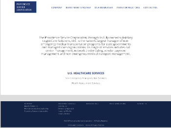 The Providence Service Corporation Website Screenshot