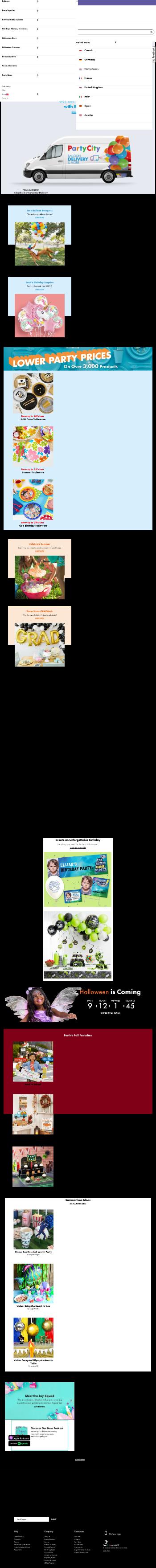 Party City Holdco Inc. Website Screenshot