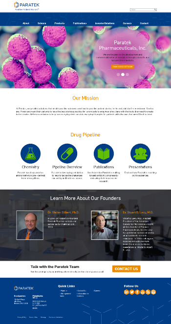 Paratek Pharmaceuticals, Inc. Website Screenshot