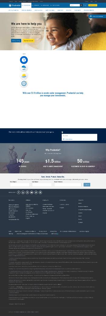 Prudential Financial, Inc. Website Screenshot