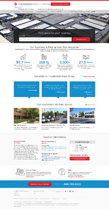 PS Business Parks, Inc. Website Screenshot
