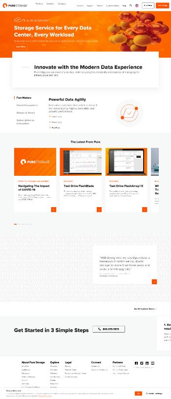 Pure Storage, Inc. Website Screenshot