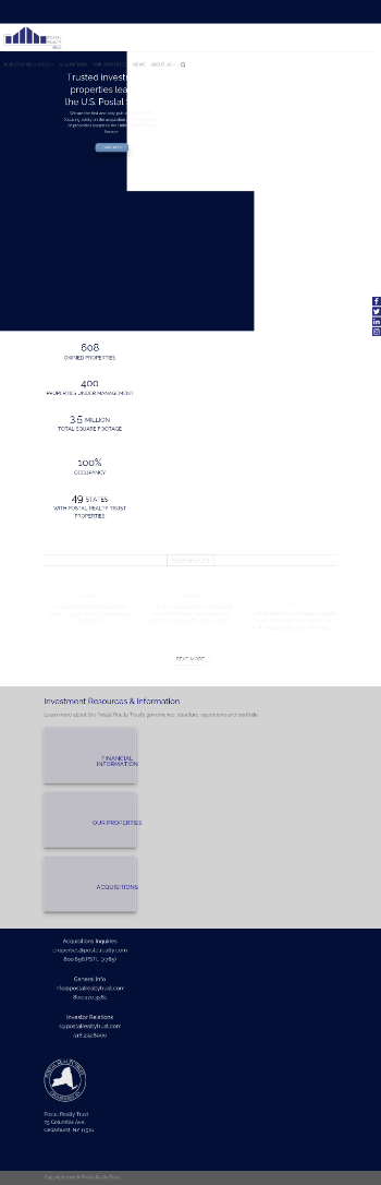 Postal Realty Trust, Inc. Website Screenshot