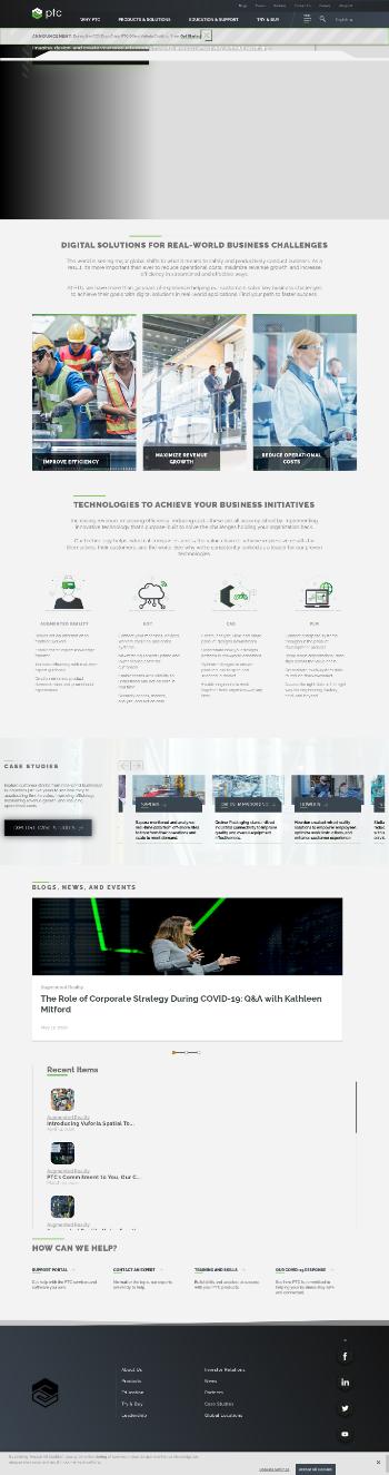 PTC Inc. Website Screenshot