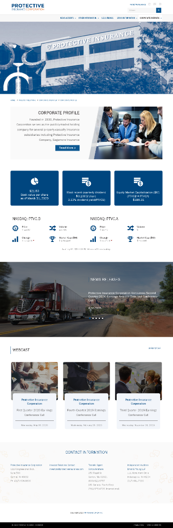 Protective Insurance Corporation Website Screenshot