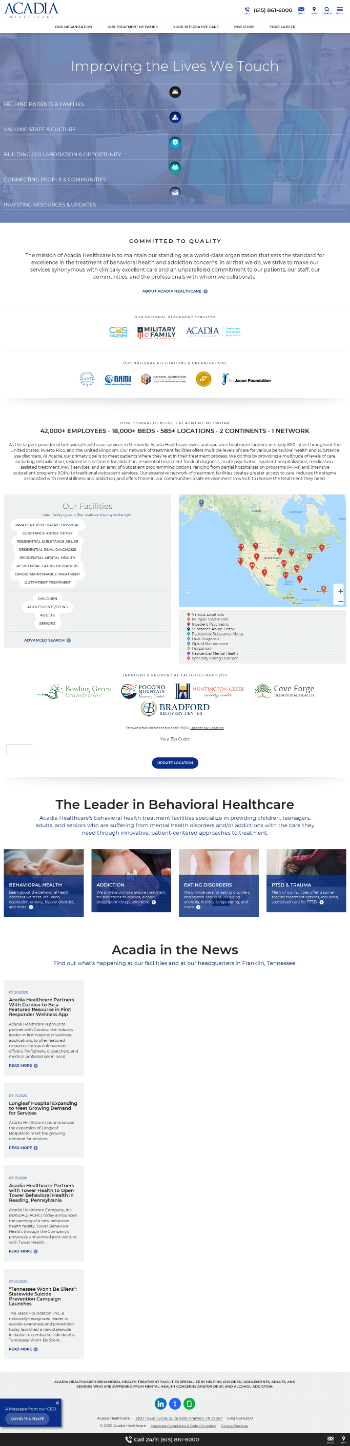 Acadia Healthcare Company, Inc. Website Screenshot