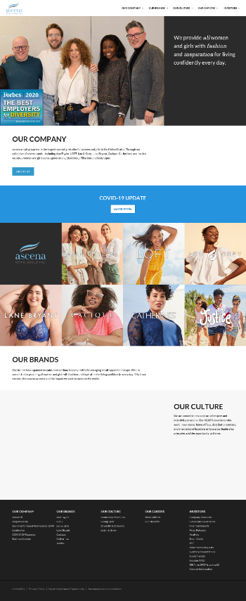 Ascena Retail Group, Inc. Website Screenshot