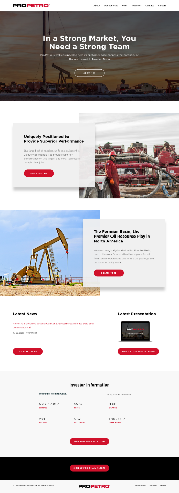 ProPetro Holding Corp. Website Screenshot