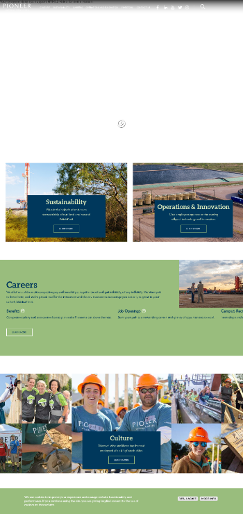 Pioneer Natural Resources Company Website Screenshot
