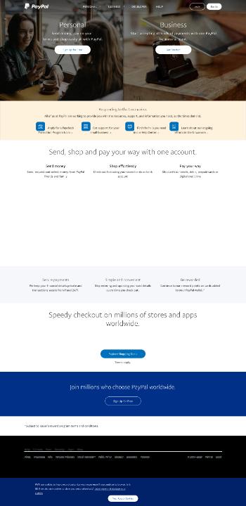 PayPal Holdings, Inc. Website Screenshot