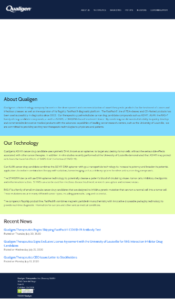 Qualigen Therapeutics, Inc. Website Screenshot