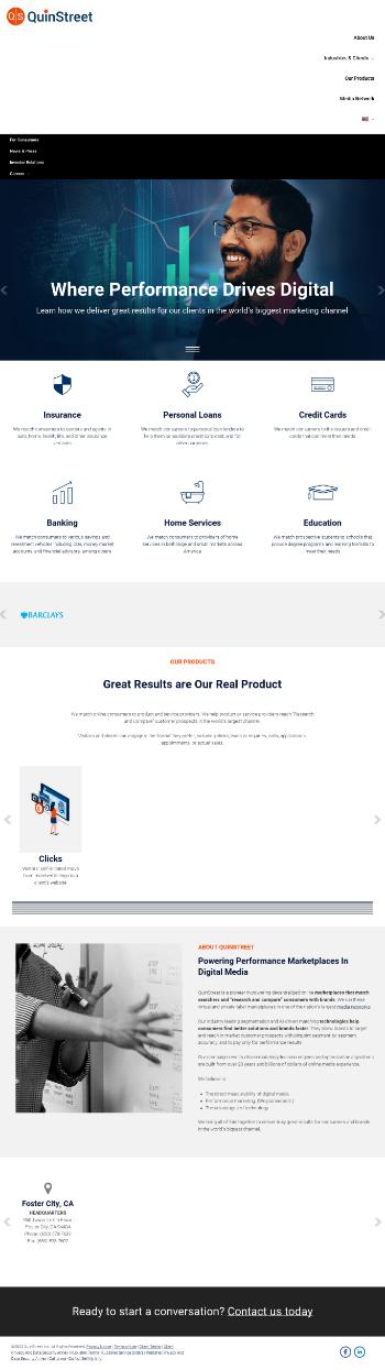 QuinStreet, Inc. Website Screenshot