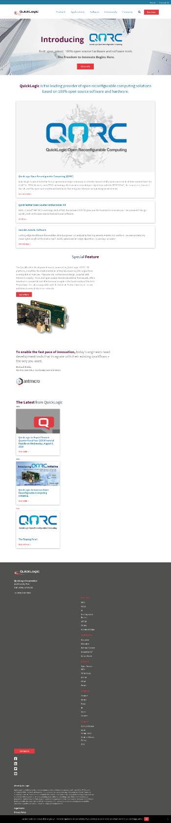 QuickLogic Corporation Website Screenshot