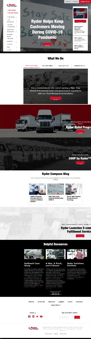 Ryder System, Inc. Website Screenshot