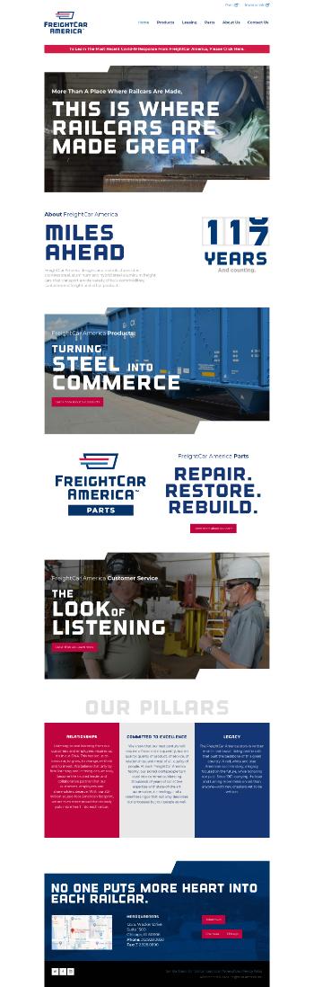 FreightCar America, Inc. Website Screenshot