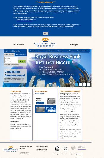 RBB Bancorp Website Screenshot