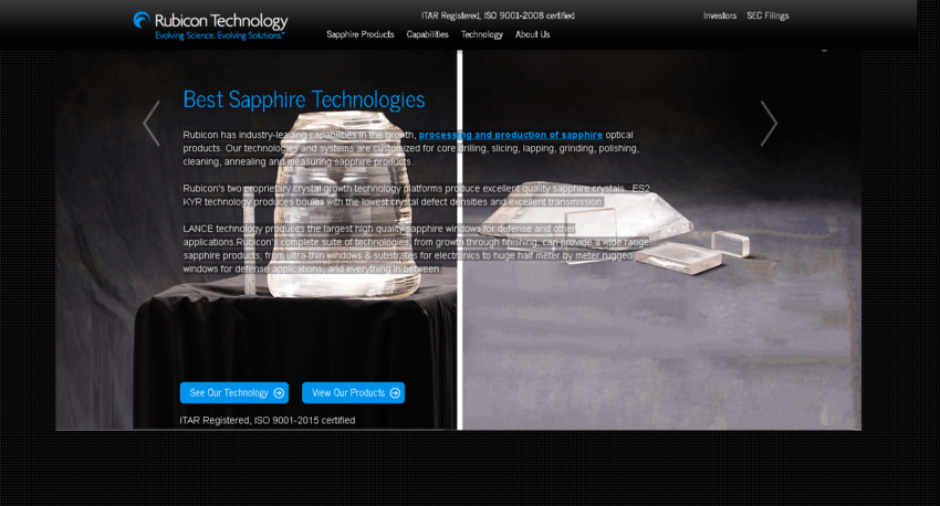 Rubicon Technology, Inc. Website Screenshot