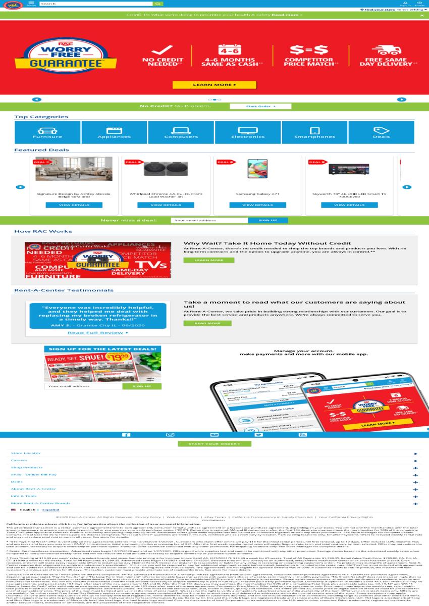 Rent-A-Center, Inc. Website Screenshot
