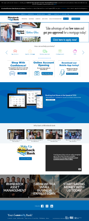Rhinebeck Bancorp, Inc. Website Screenshot