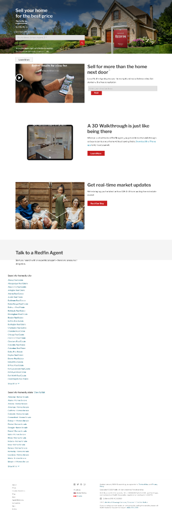 Redfin Corporation Website Screenshot