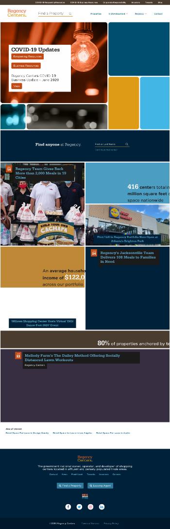 Regency Centers Corporation Website Screenshot
