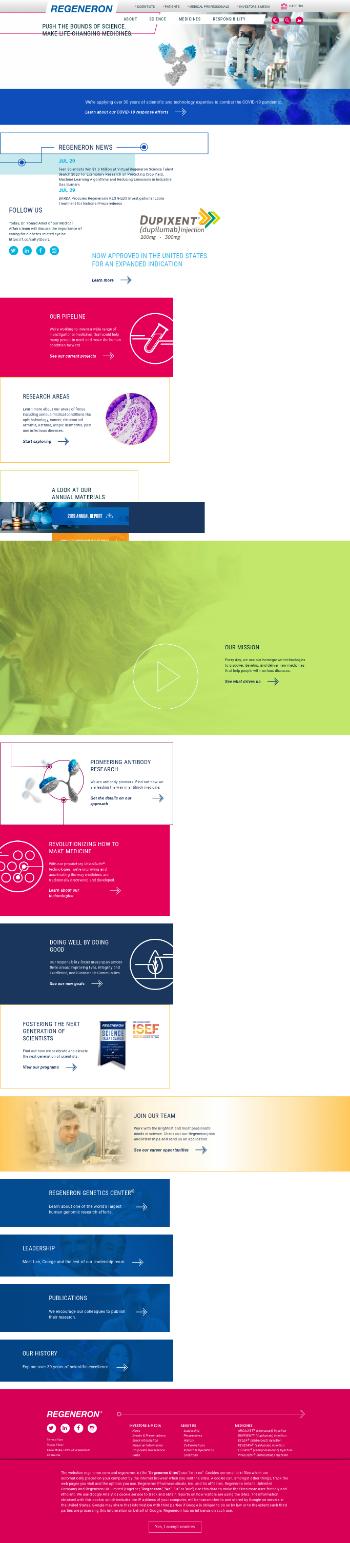 Regeneron Pharmaceuticals, Inc. Website Screenshot