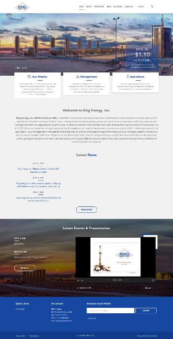 Ring Energy, Inc. Website Screenshot