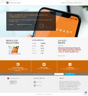 Resonant Inc. Website Screenshot