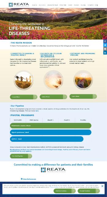 Reata Pharmaceuticals, Inc. Website Screenshot