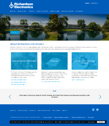 Richardson Electronics, Ltd. Website Screenshot