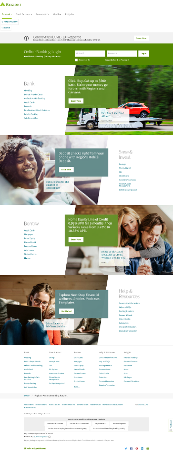 Regions Financial Corporation Website Screenshot