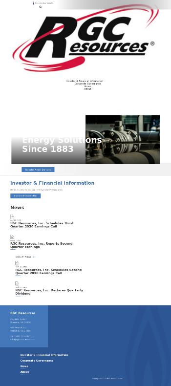 RGC Resources, Inc. Website Screenshot