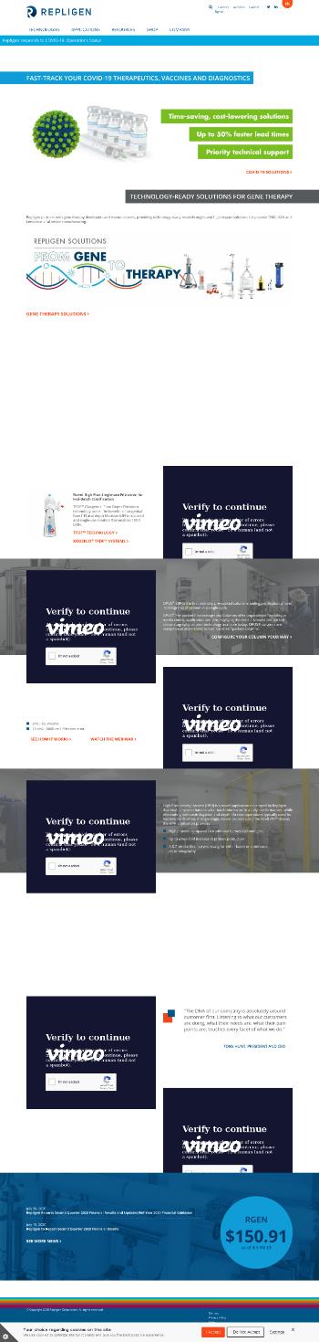 Repligen Corporation Website Screenshot