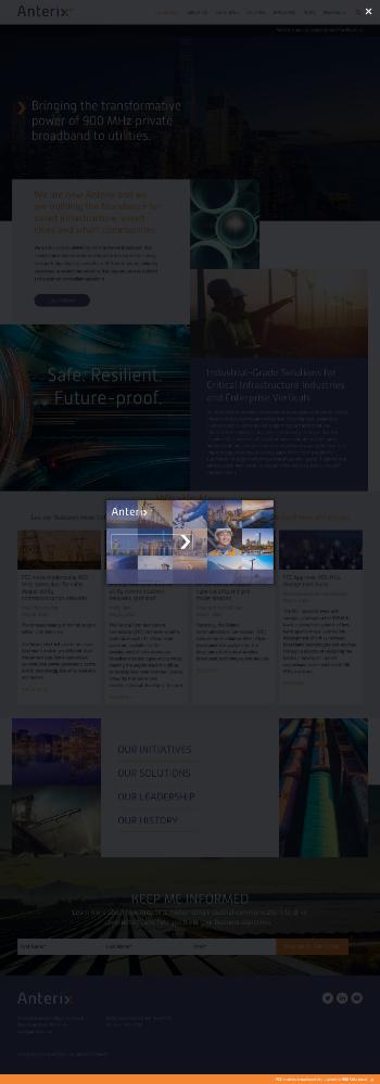 Anterix Inc. Website Screenshot