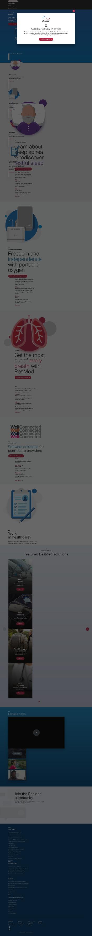 ResMed Inc. Website Screenshot