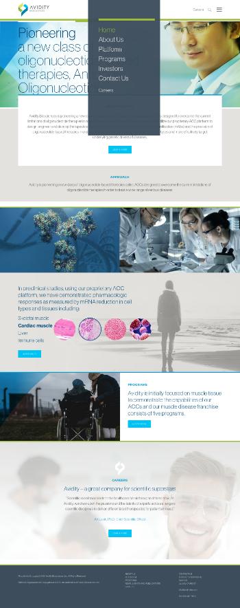 Avidity Biosciences, Inc. Website Screenshot