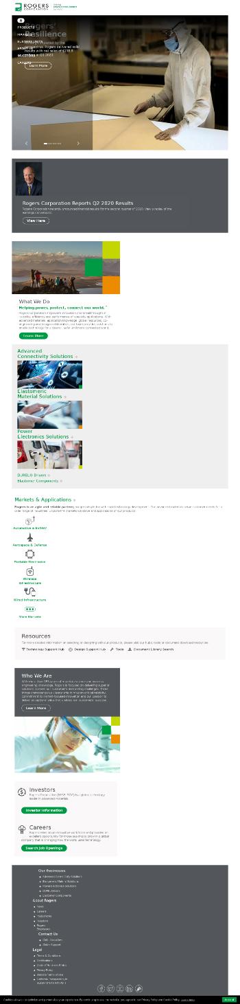 Rogers Corporation Website Screenshot