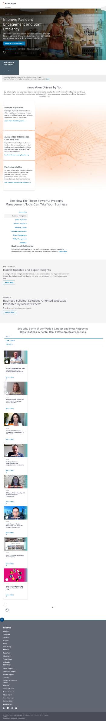 RealPage, Inc. Website Screenshot
