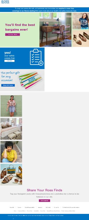 Ross Stores, Inc. Website Screenshot