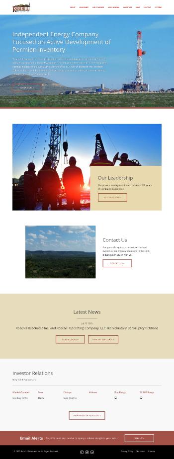 Rosehill Resources Inc. Website Screenshot
