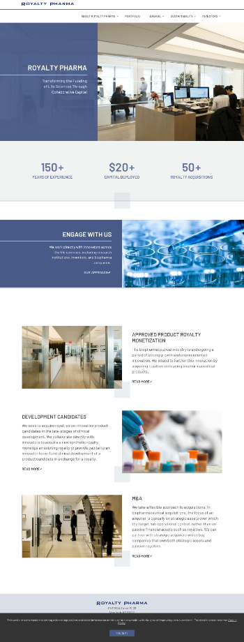 Royalty Pharma plc Website Screenshot
