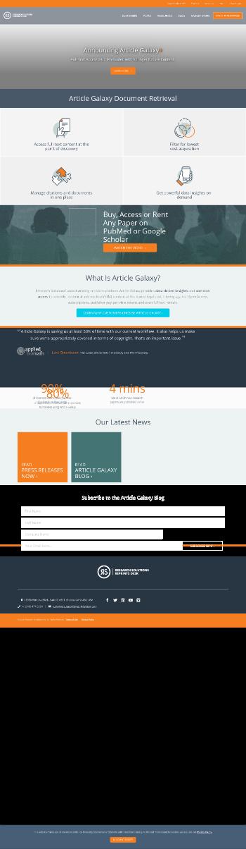 Research Solutions, Inc. Website Screenshot