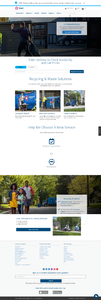 Republic Services, Inc. Website Screenshot