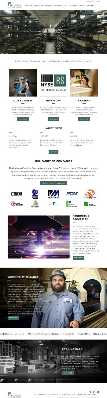 Reliance Steel & Aluminum Co. Website Screenshot