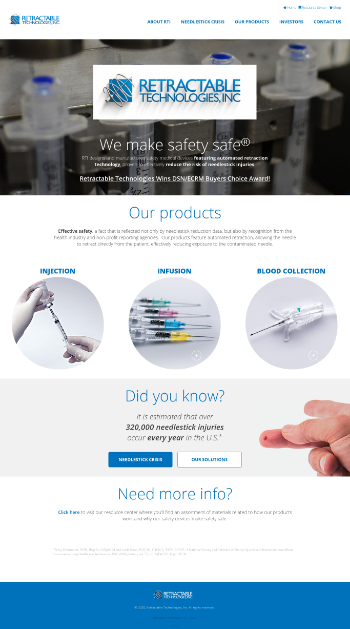 Retractable Technologies, Inc. Website Screenshot