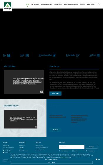 Athersys, Inc. Website Screenshot