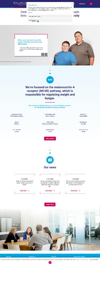 Rhythm Pharmaceuticals, Inc. Website Screenshot