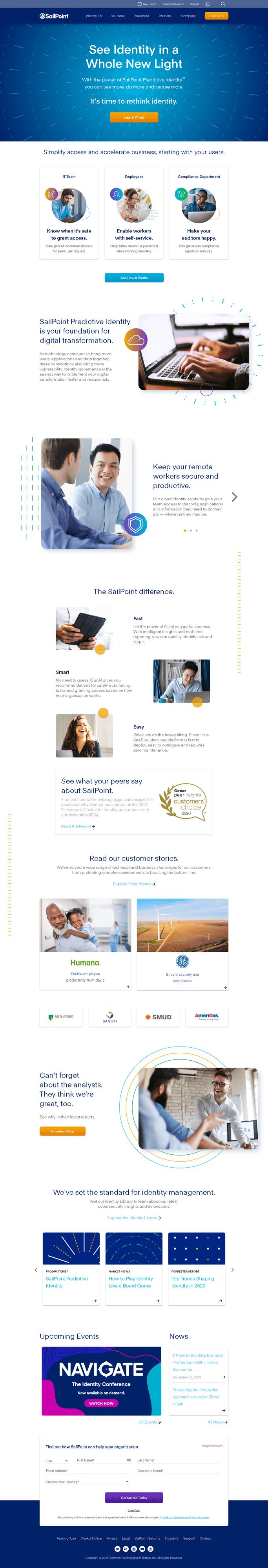 SailPoint Technologies Holdings, Inc. Website Screenshot